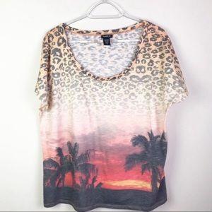 Torrid Sunset Leopard Short Sleeve Graphic Tee